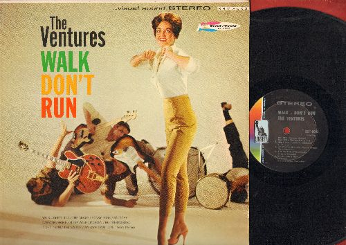Ventures - Walk Don't Run: The McCoy, Honky Tonk, Raunchy, Sleep Walk, Morgen, Night Train, My Own True Love, Caravan (Vinyl STEREO LP record, light blue label first issue) - EX8/VG7 - LP Records