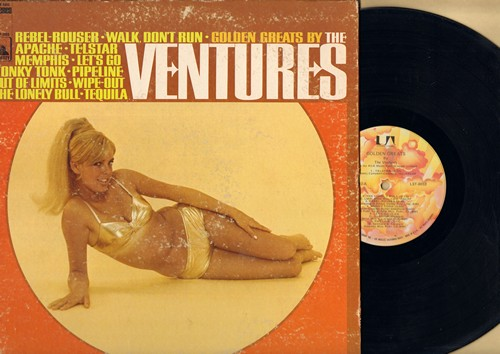 Ventures - Golden Greats: Walk-Don't Run, Apache, Telstar, Out Of Limits, Wipe Out, Tequila, Pipeline (Vinyl STEREO LP record, 1970s re-issue, gate-fold cover) - EX8/VG6 - LP Records