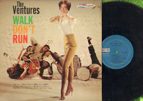 Ventures - Walk Don't Run: The McCoy, Honky Tonk, Raunchy, Sleep Walk, Morgen, Night Train, My Own True Love, Caravan (Vinyl MONO LP record, light blue label first issue) - VG7/VG6 - LP Records