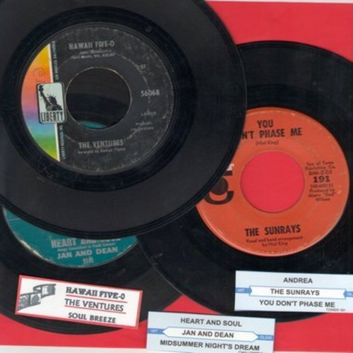 Jan & Dean, Ventures, Sunrays - Juke Box Trio #1101: First issues in very good or better condition, includes hits Heart And Soul, Hawaii Five-0 and Andrea. With customized juke box labels, great set for a Juke Box! - VG7/ - 45 rpm Records