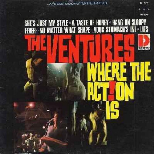 Ventures - Where The Action Is: Hang On Sloopy, No Matter What Shape (Your Stomach's In), Fever, She's Just My Style, Action (Vinyl STEREO LP record) - EX8/VG7 - LP Records
