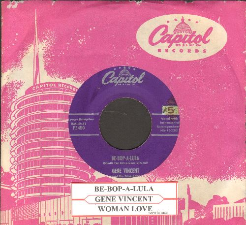 Vincent, Gene - Be-Bop-A-Lula/Woman Love (with juke box label and vintage Capitol company sleeve) - NM9/ - 45 rpm Records