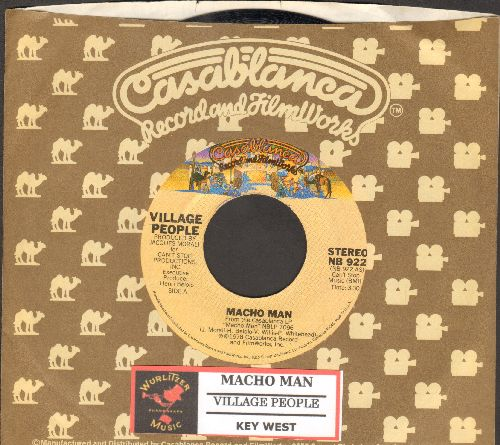 Village People - Macho Man (PARTY FAVORITE!)/Key West (with juke box label and Casablanca company sleeve) - EX8/ - 45 rpm Records
