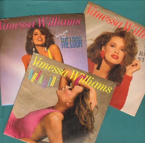 Williams, Vanessa - 3-Pack of Vanessa Williams Hits. Includes The Right Stuff, (He's Got) The Look, Dreamin' (with picture sleeves) - NM9/NM9 - 45 rpm Records
