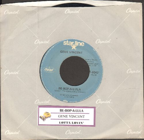 Vincent, Gene - Be-Bop-A-Lula/Lotta Lovin' (double-hit re-issue with company sleeve and juke box label) - EX8/ - 45 rpm Records
