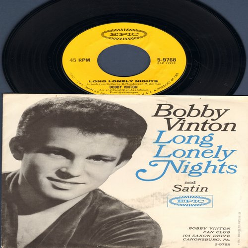 Vinton, Bobby - Long Lonely Nights/Satin (with picture sleeve) - EX8/VG7 - 45 rpm Records