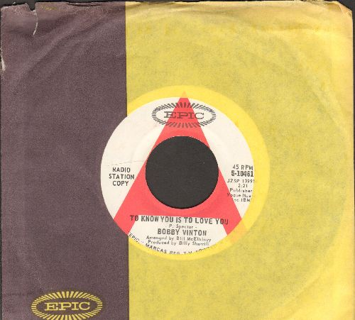 Vinton, Bobby - To Know You Is To Love You/The Beat Of My Heart (DJ advance pressing with company sleeve) - NM9/ - 45 rpm Records