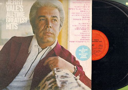 Vale, Jerry - Jerry Vale's All-Time Greatest Hits: Al Di La, Camelot, Somehwere, If, Old Cape Cod (2 vinyl STEREO LP records, gate-fold cover, DJ advance pressing with track listings taped on back cover) - NM9/EX8 - LP Records