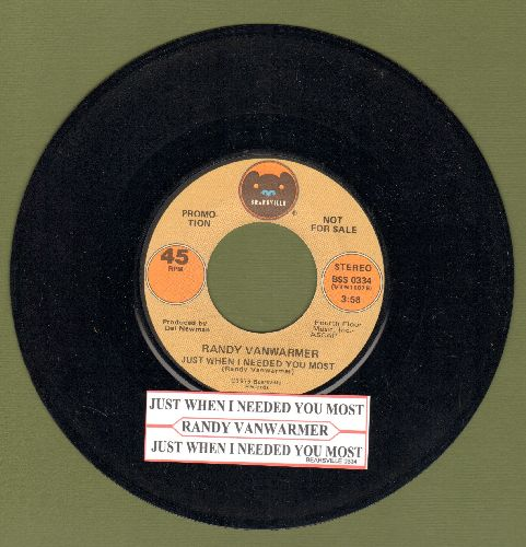 Vanwarmer, Randy - Just When I Needed You Most/Your Light (with juke box label) - M10/ - 45 rpm Records