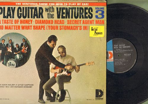 Ventures - Play Guitar With The Ventures Volume 3: Secret Agent Man, Diamond Head, No Matter What Shape (Your Stomach's In) (vinyl MONO LP record, with Diagram-Booklet) - EX8/EX8 - LP Records