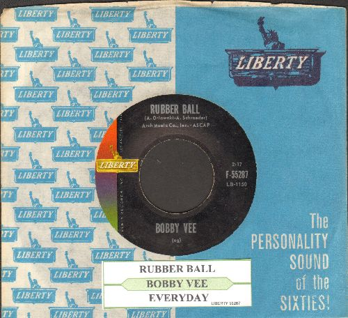 Vee, Bobby - Rubber Ball/Everyday (with juke box label and vintage Liberty company sleeve) - NM9/ - 45 rpm Records