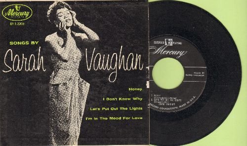 Vaughan, Sarah - Songs By Sarah Vaughan: I'm In The Mood For Love/Honey/I Don't Know Why/Let's Put Out The Light (vinyl EP record with picture cover) - EX8/VG7 - 45 rpm Records