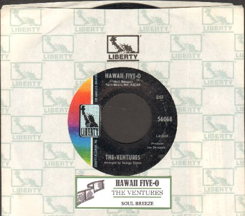 Ventures - Hawaii Five-O/Soul Breeze (with juke box label and Liberty company sleeve) - EX8/ - 45 rpm Records