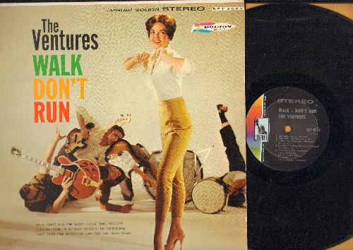 Ventures - Walk Don't Run: The McCoy, Honky Tonk, Raunchy, Sleep Walk, Morgen, Night Train, My Own True Love, Caravan (Vinyl STEREO LP record, light blue label first issue) - EX8/EX8 - LP Records