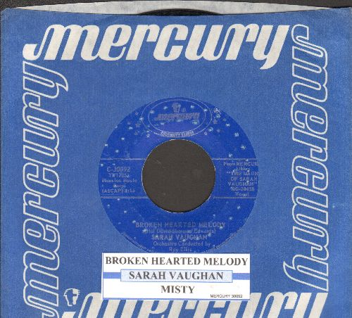 Vaughan, Sarah - Broken Hearted Melody/Misty (blue label double-hit reissue with juke box label and company sleeve) - EX8/ - 45 rpm Records