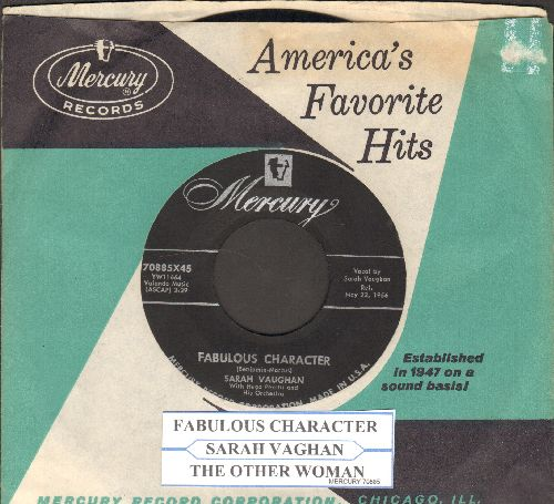 Vaughan, Sarah - Fabulous Character/Thye Other Woman (with vintage Mercury company sleeve and juke box label) - EX8/ - 45 rpm Records