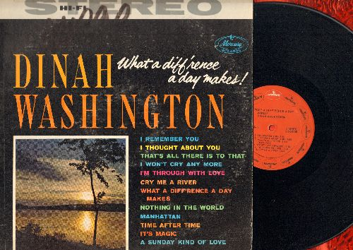 Washington, Dinah - What A Difference A Day Makes!: I Remember You, Cry Me A River, Time After Time, A Sunday Kind Of Love, It's Magic (Vinyl STEREO LP record, red label re-issue, wol) - EX8/VG6 - LP Records