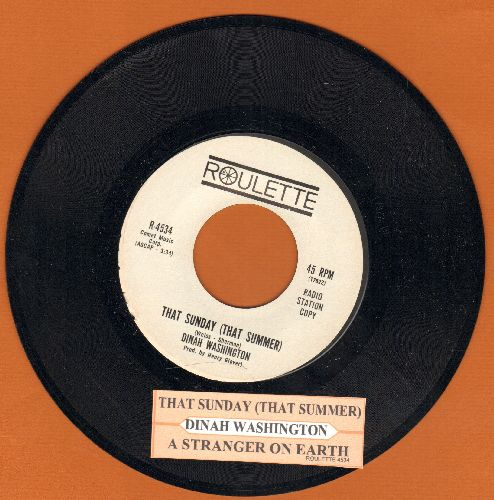 Washington, Dinah - That Sunday (That Summer)/A Stranger On Earth (DJ advance pressing with juke box label) - NM9/ - 45 rpm Records