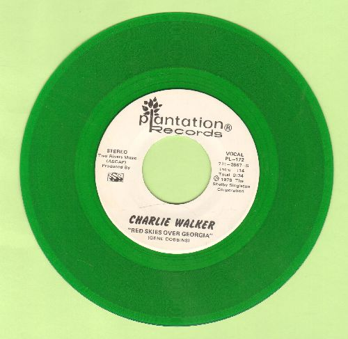 Walker, Charlie - Red Skies Over Georgia (RARE double-A-sided GREEN VINYL DJ advance pressing) - NM9/ - 45 rpm Records