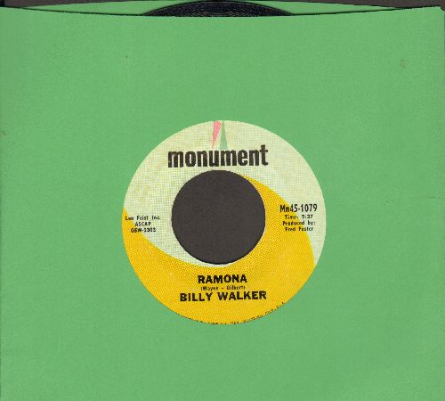 Walker, Billy - Ramona (VERY Pleasant 1960s Country Version of the Standard)/One Inch Off The Ground  - NM9/ - 45 rpm Records