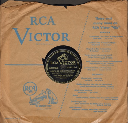 Waller, Fats & His Rhythm - There'll Be Some Changes Made/You Stayed Aways Too Long (10 inch 78rpm record with RCA Victor company sleeve) - VG7/ - 78 rpm