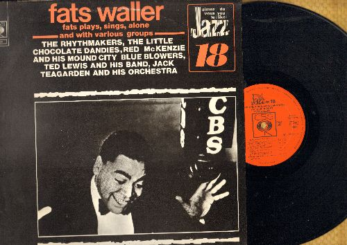 Waller, Fats - Fats Waller plays, sings alone and with various groups: Dallas Blues, You Rascal You, I'm Crazy About My Baby (vinyl LP record, 1973 Dutch issue of vintage Jazz recordings) - NM9/EX8 - LP Records