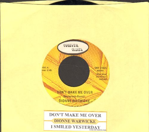 Warwick, Dionne - Don't Make Me Over/I Smiled Yesterday (double-hit re-issue with juke box label) - NM9/ - 45 rpm Records