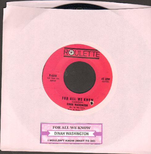 Washington, Dinah - For All We Know/I Wouldn't Know (with juke box label) - NM9/ - 45 rpm Records