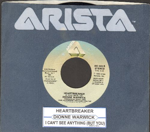 Warwick, Dionne - Heartbreaker (ULTRA-DREAMY version of the Bee Gees Love Ballad)/I Can't See Anything But You (with Arista company sleeve and juke box label) - NM9/ - 45 rpm Records