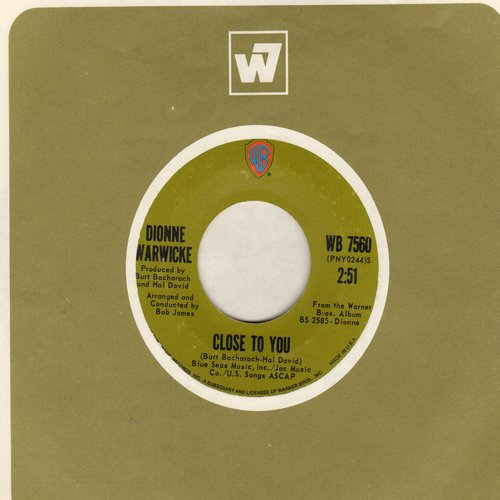 Warwick, Dionne - Close To You/If We Only Have Love (with vintage Warner Brothers company sleeve) - NM9/ - 45 rpm Records
