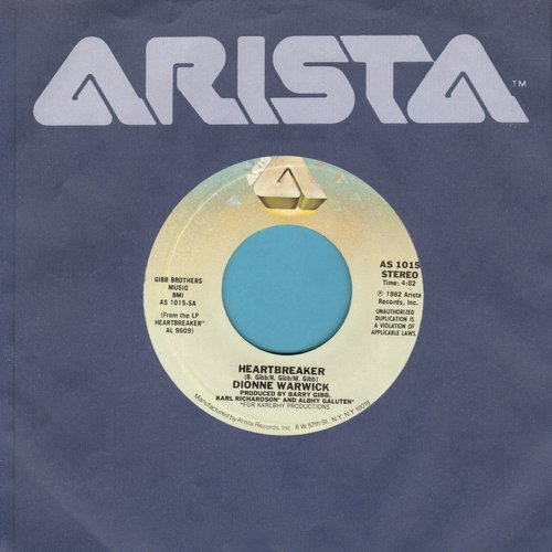 Warwick, Dionne - Heartbreaker (ULTRA-DREAMY version of the Bee Gees Love Ballad)/I Can't See Anything But You (with Arista company sleeve) - NM9/ - 45 rpm Records