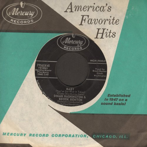 Washington, Dinah & Brook Benton - Baby (You've Got What It Takes)/I Do (with Mercury company sleeve) - EX8/ - 45 rpm Records