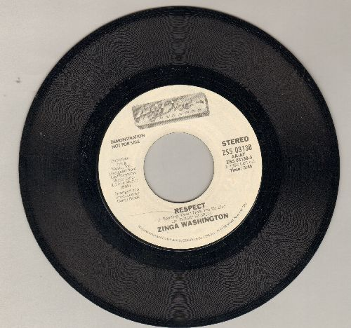 Washington, Zinga - Respect (FANTASTIC cover-version of R&B Classic) (double-A-sided DJ advance pressing) - NM9/ - 45 rpm Records