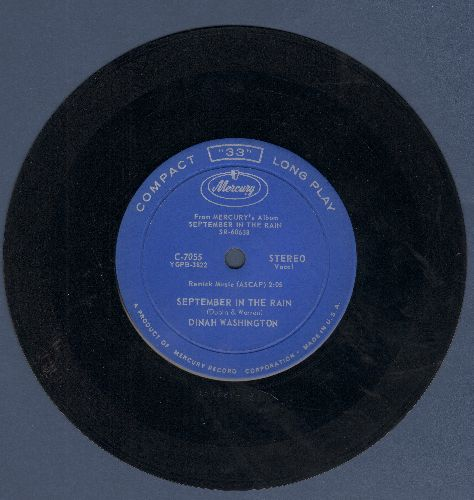 Washington, Dinah - September In The Rain/Without A Song (RARE 7 inch 33rpm STEREO record) - EX8/ - 45 rpm Records