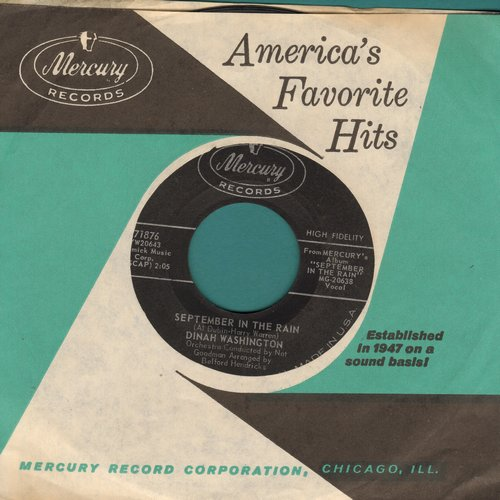 Washington, Dinah - September In The Rain/Wake The Town And Tell The People (with vintage Mercury company sleeve) - EX8/ - 45 rpm Records