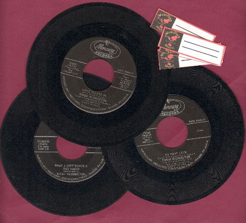 Washington, Dinah - 3-Pack of first issue 45s includes hits We Have Love, What A Difference A Day Makes, Love Walked in. Shipped in plain paper sleeves with 4 blank juke box labels. - VG6/ - 45 rpm Records