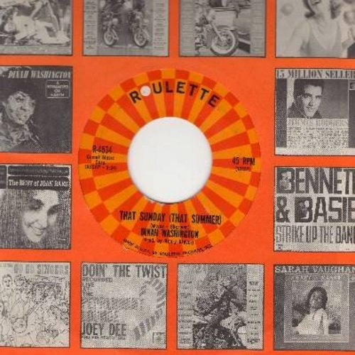 Washington, Dinah - That Sunday (That Summer)/A Stranger On Earth (with Roulette company sleeve) - EX8/ - 45 rpm Records