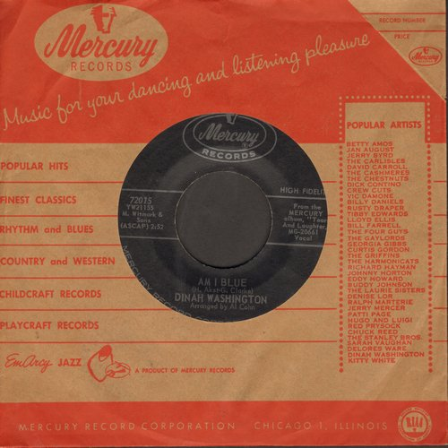 Washington, Dinah - Am I Blue/I Want To Be Loved (with vintage Mercury company sleeve) - NM9/ - 45 rpm Records