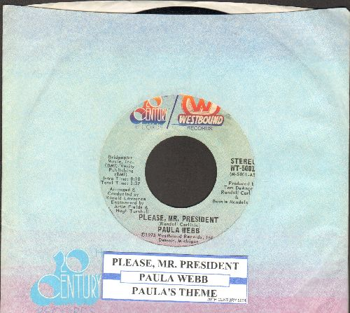Webb, Paula - Please, Mr. President (Open letter to the US President from a 1st grade girl whose father lost his job -- similar to the 1960s tear-jerker Becky's Christmas Wish)/Paula's Theme (with juke box label and company sleeve) - NM9/ - 45 rpm Records