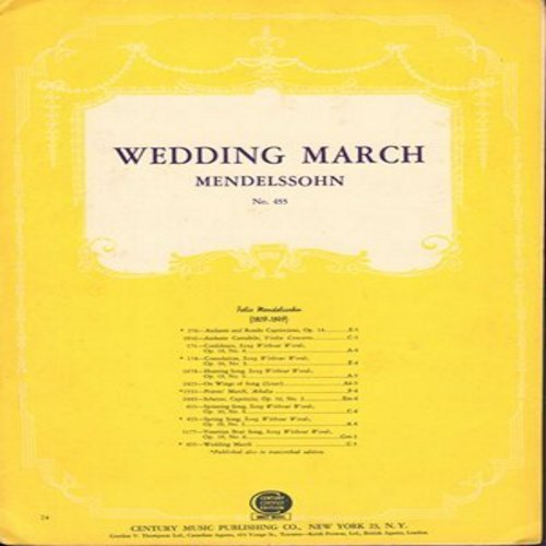 Mendelssohn, Felix - Wedding March - RARE Vintage SHEET MUSIC for the Traditional Wedding Ceremony Favorite by Mendelssohn (This is SHEET MUSIC, not any other kind of media!) - EX8/ - Sheet Music