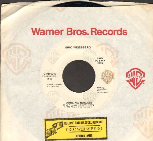 Weissberg, Eric - Dueling Banjos (from film -Deliverance-)/Reuben James (double-hit re-issue with Warner Brothers company sleeve) - EX8/ - 45 rpm Records