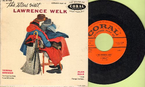 Welk, Lawrence & His Orchestra - The Stars Vitis Lawrence Welk: Teresa Brewer (The Lingering Song/Texas Millionaire)/Alan Dale (Teresa/Change The Music) (vinyl EP record with picture cover) - NM9/EX8 - 45 rpm Records