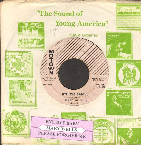 Wells, Mary - Bye Bye Baby/Please Forgive Me (RARE pink label early pressing with juke box label and Motown company sleeve) - EX8/ - 45 rpm Records
