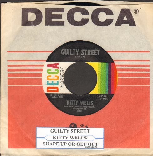 Wells, Kitty - Guilty Street/Shape Up Or Get Out (with juke box label and Decca company sleeve) - NM9/ - 45 rpm Records