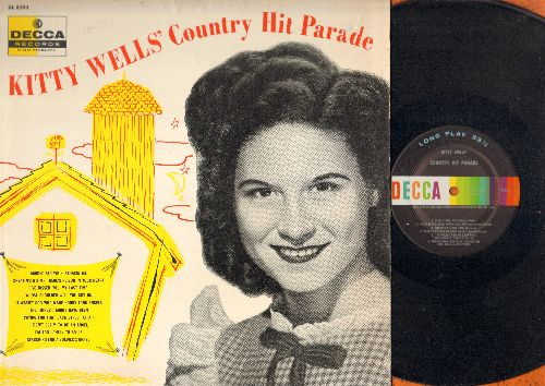 Wells, Kitty - Kitty Wells' Country Hit Parade: Release Me, I Don't Claim To Be An Angel, I've Kissed You My Last Time (Vinyl MONO LP record) - EX8/EX8 - LP Records