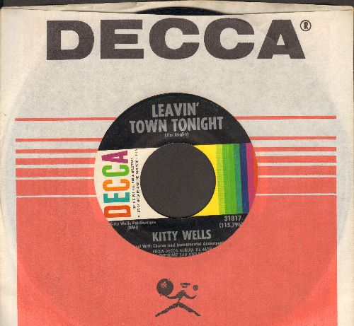 Wells, Kitty - Leavin' Town Tonight/Meanwhile, Down At Joe's (with Decca company sleeve) - NM9/ - 45 rpm Records