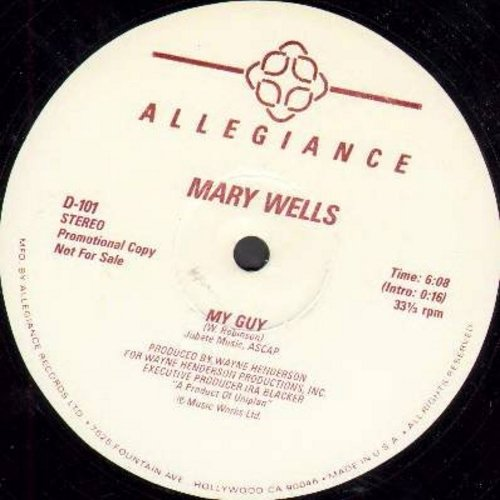 Wells, Mary - My Guy (6:08 minutes Extended Version)/My Guy (6:09 minutes Instrumental Version) (12 inch 33rpm vinyl Maxi Single, DJ advance copy) - M10/ - Maxi Singles
