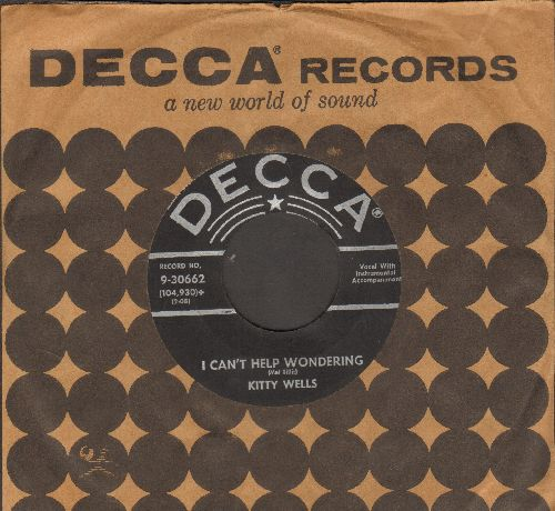 Wells, Kitty - I Can't Help Wondering/Jealousy (with vintage Decca company sleeve) - EX8/ - 45 rpm Records