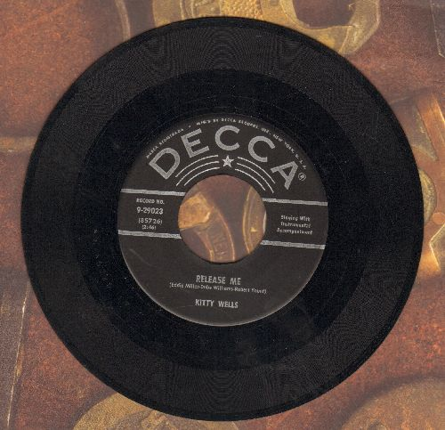 Wells, Kitty - Release Me/After Dark (black label silver star first pressing) - EX8/ - 45 rpm Records