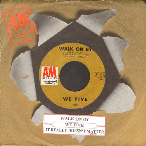 We Five - Walk On By/It Really Doesn't Matter (with A&M company sleeve with juke box label) - NM9/ - 45 rpm Records